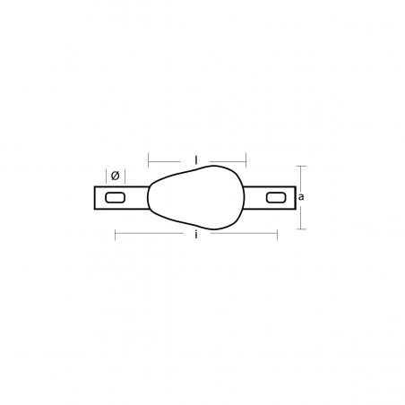 00351-2-BMG - Magnesium Rumpfanode, tropfformig, 0.7 kg, Streife mit Löcher