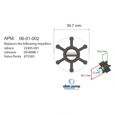 06-01-002 Albin-Pump Impeller für F35 (→ 09-808B-1)