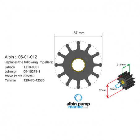 06-01-012 - Albin Pump Impeller Kit für F5B