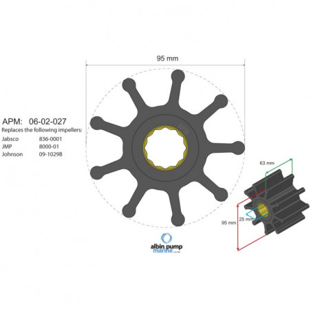 06-02-027, Albin Pump Impeller Kit