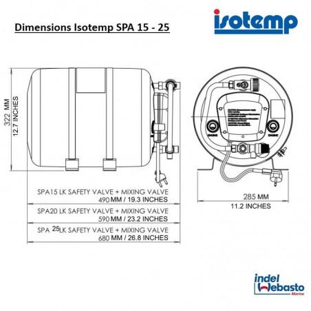 6P2531SPA0003 - Isotherm SPA Boiler 25l,  12/24V, Kit 230V/750W