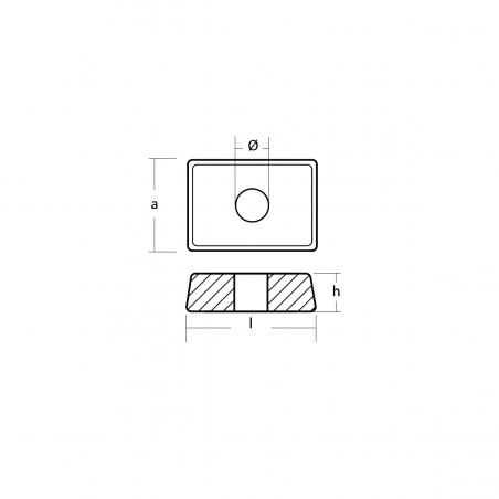 00834MG - Magnesium Anode Platte für Parsun F5A/6A, Merkury 4 bis 9.9PS